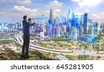 businessman on the hill and... | Shutterstock . vector #645281905
