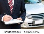 an insurance expert employee... | Shutterstock . vector #645284242