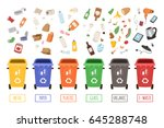 waste plastic separate cans... | Shutterstock .eps vector #645288748