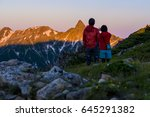 alps dyed in the morning sun | Shutterstock . vector #645291382