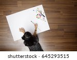 top view of little girl... | Shutterstock . vector #645293515