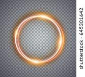 magic gold circle light effect. ... | Shutterstock . vector #645301642