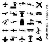 aviation icons set. set of 25... | Shutterstock .eps vector #645302446