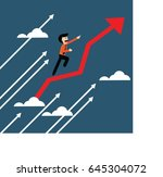happy business man with red and ... | Shutterstock .eps vector #645304072
