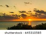 Island sunset off the coast of Russel Island Bahamas