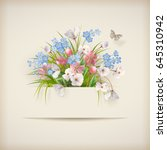 floral card with different... | Shutterstock . vector #645310942