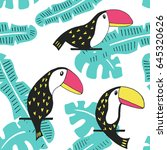 toucan floral seamless pattern. ... | Shutterstock .eps vector #645320626