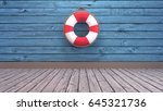 Lifebuoy On Blue Wooden Wall....