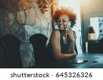 charming young afro american...   Shutterstock . vector #645326326
