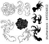 hand drawn wave for tattoo... | Shutterstock .eps vector #645326812