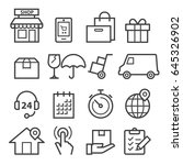 delivery thin line icons   Shutterstock .eps vector #645326902