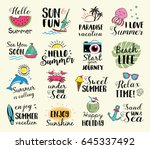 summer labels  logos  hand... | Shutterstock .eps vector #645337492