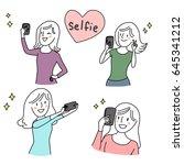 set of cute woman making selfie ... | Shutterstock .eps vector #645341212