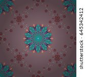 vector textile print for bed... | Shutterstock .eps vector #645342412