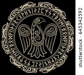design of raven in celtic ... | Shutterstock .eps vector #645342592