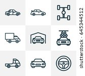 auto outline icons set.... | Shutterstock .eps vector #645344512