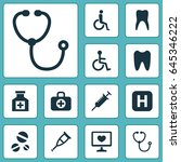 medicine icons set. collection... | Shutterstock .eps vector #645346222