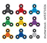 set of vector triple spinner... | Shutterstock .eps vector #645371026