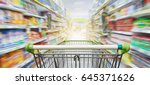 supermarket aisle with empty... | Shutterstock . vector #645371626