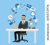 business workplace male sitting ... | Shutterstock .eps vector #645372976