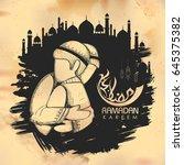 illustration of eid mubarak ... | Shutterstock .eps vector #645375382