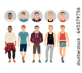 handsome young guys in casual... | Shutterstock .eps vector #645379756