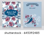 cards for wedding with blooming ... | Shutterstock .eps vector #645392485