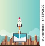 rocketship on computer for... | Shutterstock .eps vector #645392602