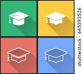 graduation cap vector icons set.... | Shutterstock .eps vector #645393526