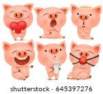 Set Of Cute Pig Cartoon...