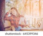 businessman strain on earnings. | Shutterstock . vector #645399346