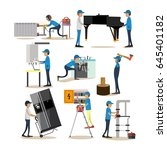 vector icons set of workers... | Shutterstock .eps vector #645401182