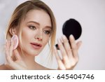 face make up. closeup of sexy... | Shutterstock . vector #645404746