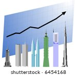 Business chart with world's tallest building that keeps on growing.