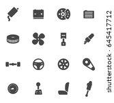 vector black car parts icons... | Shutterstock .eps vector #645417712