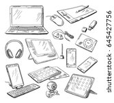 different computer gadgets.... | Shutterstock .eps vector #645427756