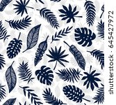 tropical leaves seamless... | Shutterstock . vector #645427972