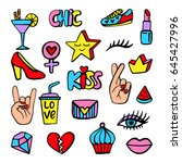 fashion patch badges set with... | Shutterstock . vector #645427996