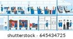 airplane interior set. | Shutterstock . vector #645434725