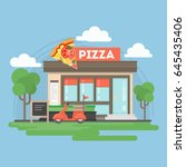 pizza restaurant building. | Shutterstock . vector #645435406