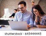 business coworkers celebrate... | Shutterstock . vector #645444445