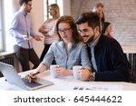 coworking process  designers... | Shutterstock . vector #645444622