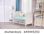 interior of light cozy baby... | Shutterstock . vector #645445252