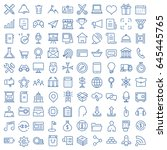 set of 100 vector linear thin... | Shutterstock .eps vector #645445765