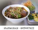 beef rice noodles  vietnamese... | Shutterstock . vector #645447622