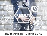 Small photo of Results - Business Growing Concept Presentation. Analytical team work with financial result. Conceptual office life. Outcome and summary. Businessman offers results icon on virtual screen.