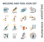 welding work and welding tools... | Shutterstock .eps vector #645457342