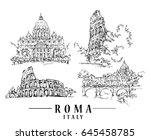 roma sketch. hand drawn... | Shutterstock .eps vector #645458785