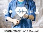 doctor pushing button heart... | Shutterstock . vector #645459862