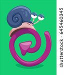 snail waiting on replay icon ... | Shutterstock .eps vector #645460345